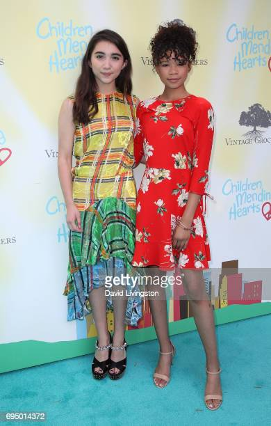 Actreses Rowan Blanchard and Storm Reid attend Children Mending Hearts' 9th Annual Empathy Rocks at a private residence on June 11 2017 in Bel Air...