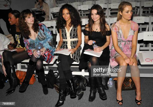 Actresess Aisha Tyler, Sherri Saum, VH1's Alison Becker and actress Katrina Bowden attend the Milly By Michelle Smith Fall 2008 fashion show during...