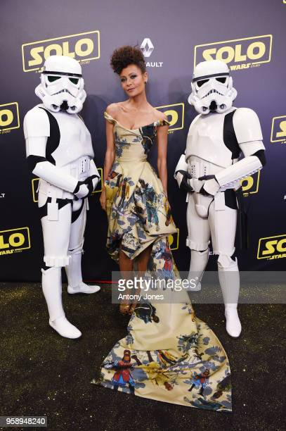 Actresess Thandie Newton and Stormtroopers attend a 'Solo A Star Wars Story' party at the Carlton Beach following the film's out of competition...