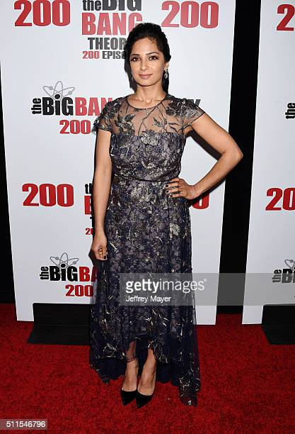 Actress Aarti Mann arrives at CBS's 'The Big Bang Theory' Celebrates 200th Episode at Vibiana on February 20 2016 in Los Angeles California