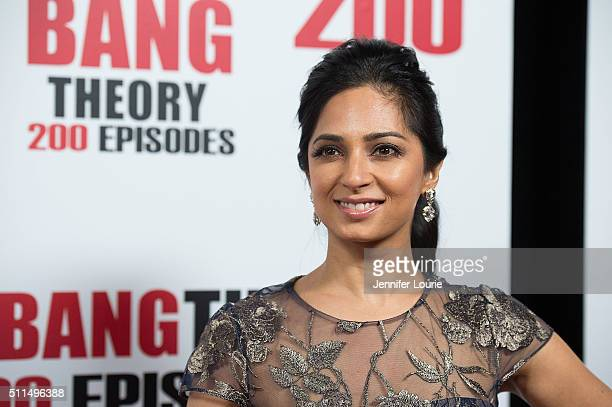 Actress Aarti Mann arrives at the CBS's The Big Bang Theory Celebrates 200th Episode at the Vibiana on February 20 2016 in Los Angeles California