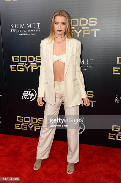 Actress Abbey Lee attends the 'Gods Of Egypt' New York City premiere at AMC Loews Lincoln Square 13 theater on February 24 2016 in New York City