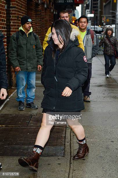 Actress Abbi Jacobson enters 'The Late Show with Stephen Colbert' at the Ed Sullivan Theater on February 16 2016 in New York City