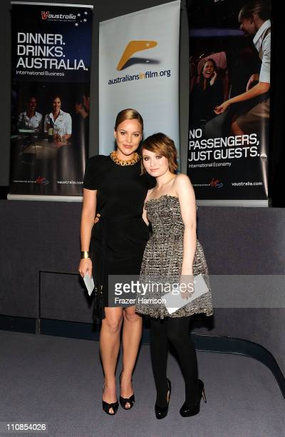 Actress Abbie Cornish and Emily Browning pose at the Australians In Film screening of Warner Bros 'Sucker Punch' at the Harmony Gold Theatre on March...