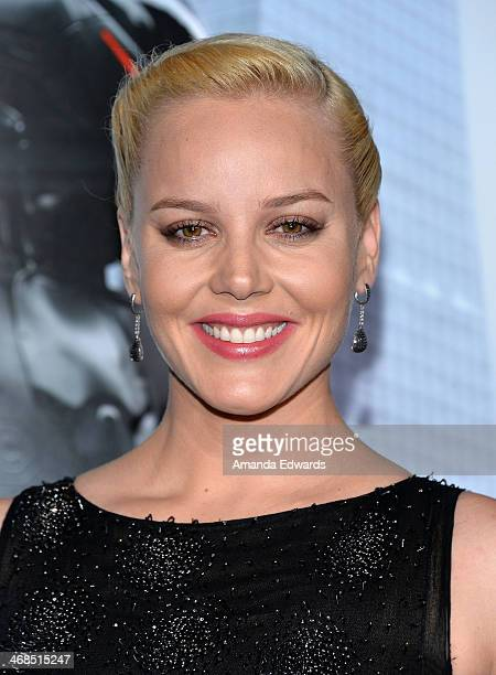 Actress Abbie Cornish arrives at the Los Angeles premiere of 'Robocop' at the TCL Chinese Theatre on February 10 2014 in Hollywood California