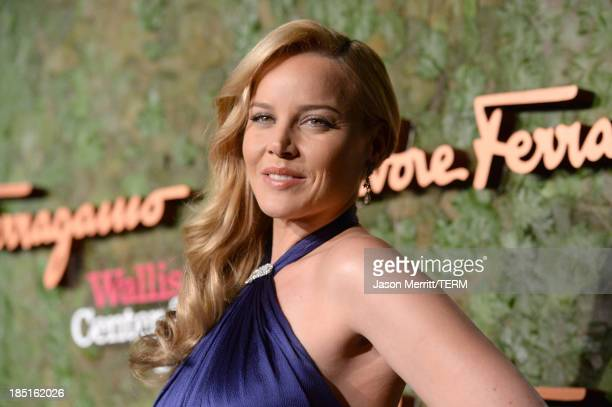 Actress Abbie Cornish wearing Ferragamo arrives at the Wallis Annenberg Center for the Performing Arts Inaugural Gala presented by Salvatore...