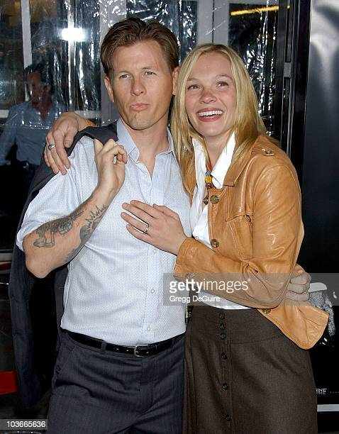 Actress Abby Brammell and husband arrive at the 'American Gangster' premiere at the Arclight Hollywood Theatre on October 29 2007 in Hollywood...