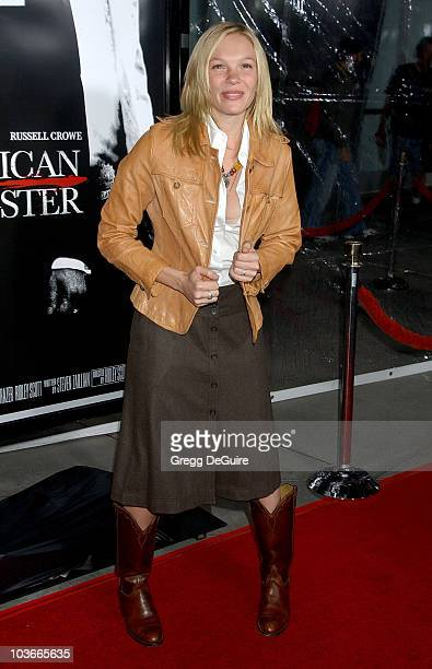 Actress Abby Brammell arrives at the 'American Gangster' premiere at the Arclight Hollywood Theatre on October 29 2007 in Hollywood California