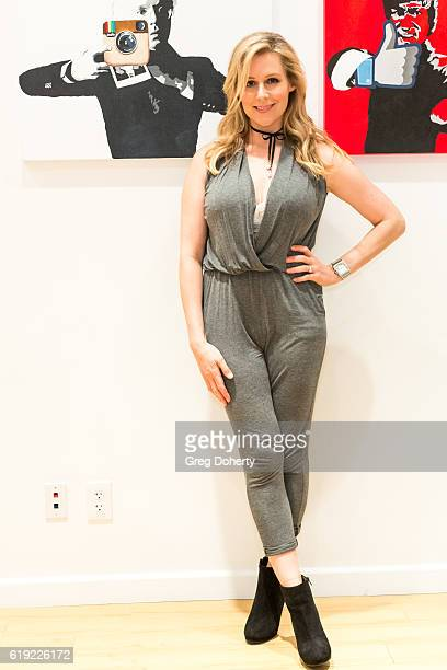 Actress Abi Titmuss attends the Gallery Opening Of 'Social Distortion A Capsule Collection Of Fine Art By Billy Morrison' at Art On Scene on October...