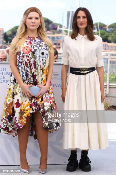 """Actress Abigail Breslin and French actress Camille Cottin pose during a photocall for the film """"Stillwater"""" at the 74th edition of the Cannes Film..."""