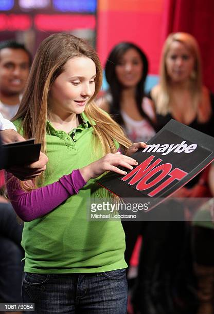 Actress Abigail Breslin appears on MTV's TRL at MTV Studios in New York City's Times Square on February 12 2008 The air date for this show is...