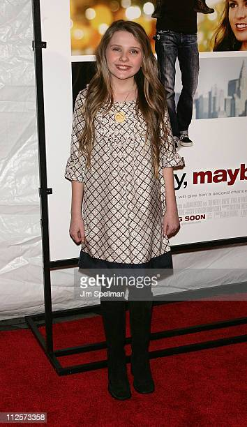 Actress Abigail Breslin arrives at the Definitely Maybe Premiere at the Ziegfeld Theater on February 12 2008 in New York City