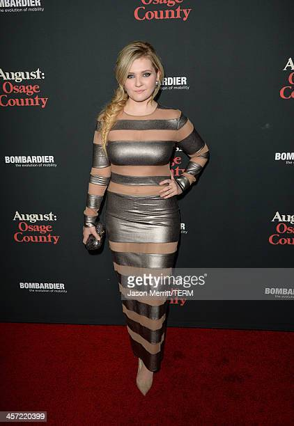 "Actress Abigail Breslin arrives at the premiere of The Weinstein Company's ""August: Osage County"" at Regal Cinemas L.A. Live on December 16, 2013 in..."