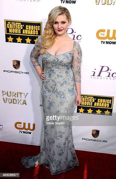 Actress Abigail Breslin attends the 19th Annual Critics' Choice Movie Awards at Barker Hangar on January 16 2014 in Santa Monica California