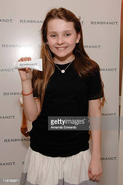 Actress Abigail Breslin attends The Belvedere Luxury Lounge in honor of the 80th Academy Awards featuring Rembrandt held at the Four Seasons Hotel on...