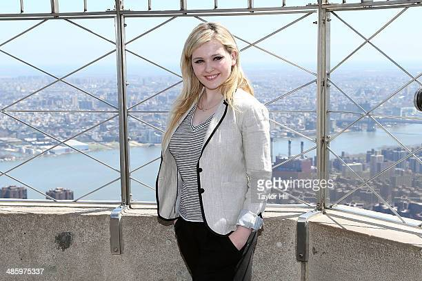 Actress Abigail Breslin lights the Empire State Building yellow in honor of Project Sunshine month on April 21 2014 in New York City