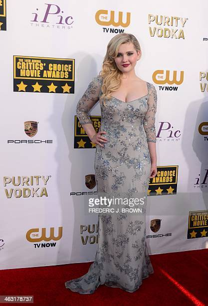 Actress Abigail Breslin poses during red carpet arrivals for the Critic's Choice Awards in Santa Monica California on January 16 2014 AFP...