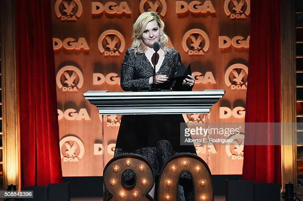 Actress Abigail Breslin speaks onstage at the 68th Annual Directors Guild Of America Awards at the Hyatt Regency Century Plaza on February 6 2016 in...