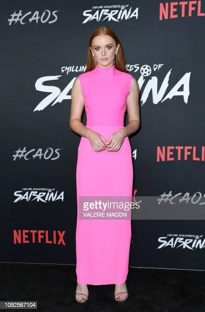 Actress Abigail F Cowen arrives at the Season 1 Netflix's Chilling Adventures of Sabrina Premiere at the Hollywood Athletic Club on October 19 2019...