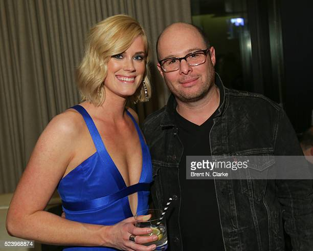 Actress Abigail Hawk and director Marc Meyers attend the 'Almost Paris' premiere after party on April 24 2016 in New York City