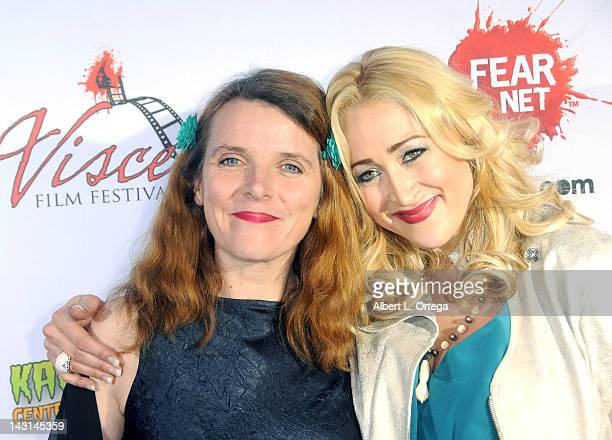 Actress Abigail Hopkins and producer/actress Jennifer Blanc arrives for the cast/crew Screening Of 'Among Friends' held at the Jon Lovitz Comedy Club...