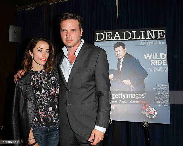 Actress Abigail Spencer and actor Aden Young attend Deadline Hollywood's 2015 Emmy party at The Spare Room on June 9 2015 in Hollywood California