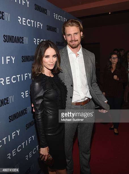 Actress Abigail Spencer and actor Josh Pence arrives at the premiere of SundanceTV's Rectify Season Two at Sundance Sunset Cinema on June 16 2014 in...