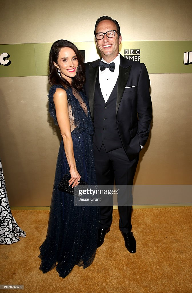 Actress Abigail Spencer (L) and AMC President and General Manager Charlie Collier attend AMC Networks Emmy Party at BOA Steakhouse on September 18, 2016 in West Hollywood, California.