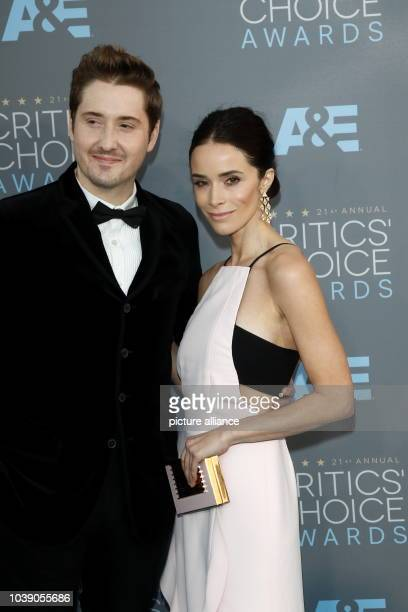 Actress Abigail Spencer and Derek Johnson arrive at the 21st Annual Critics' Choice Awards at Barker Hangar at Santa Monica Airport in Los Angeles...
