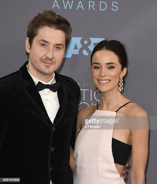 Actress Abigail Spencer and Derek Johnson attend the 21st Annual Critics' Choice Awards at Barker Hangar on January 17 2016 in Santa Monica California
