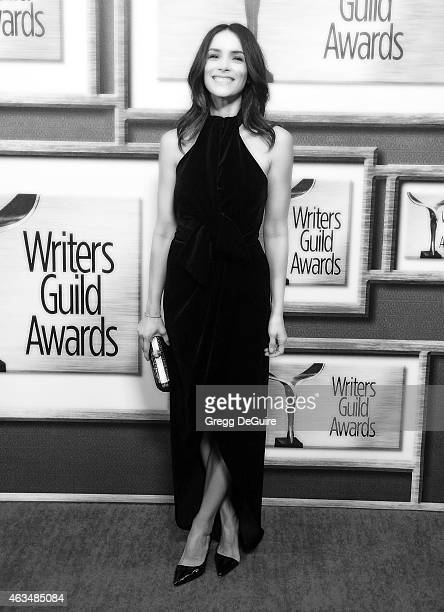 Actress Abigail Spencer arrives at the 2015 Writers Guild Awards L.A. Ceremony at the Hyatt Regency Century Plaza on February 14, 2015 in Los...