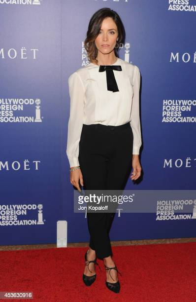 Actress Abigail Spencer arrives at The Hollywood Foreign Press Association Installation Dinner at The Beverly Hilton Hotel on August 14 2014 in...