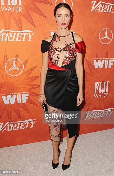 Actress Abigail Spencer arrives at the Variety And Women In Film Annual Pre-Emmy Celebration at Gracias Madre on September 18, 2015 in West...