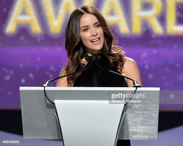 Actress Abigail Spencer speaks onstage at the 2015 Writers Guild Awards L.A. Ceremony at the Hyatt Regency Century Plaza on February 14, 2015 in...