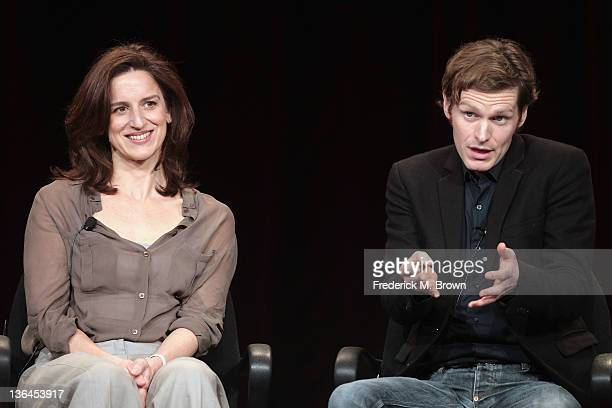 Actress Abigail Thaw and actor Shaun Evans speak onstage during the Masterpiece 'Endeavour' panel during the PBS portion of the 2012 Winter TCA Tour...