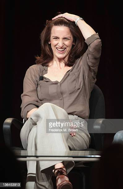 Actress Abigail Thaw speaks onstage during the Masterpiece 'Endeavour' panel during the PBS portion of the 2012 Winter TCA Tour at The Langham...