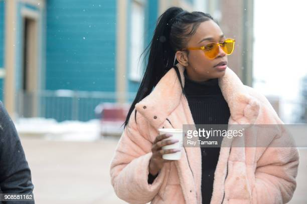 Actress Abra walks in Park City on January 21 2018 in Park City Utah