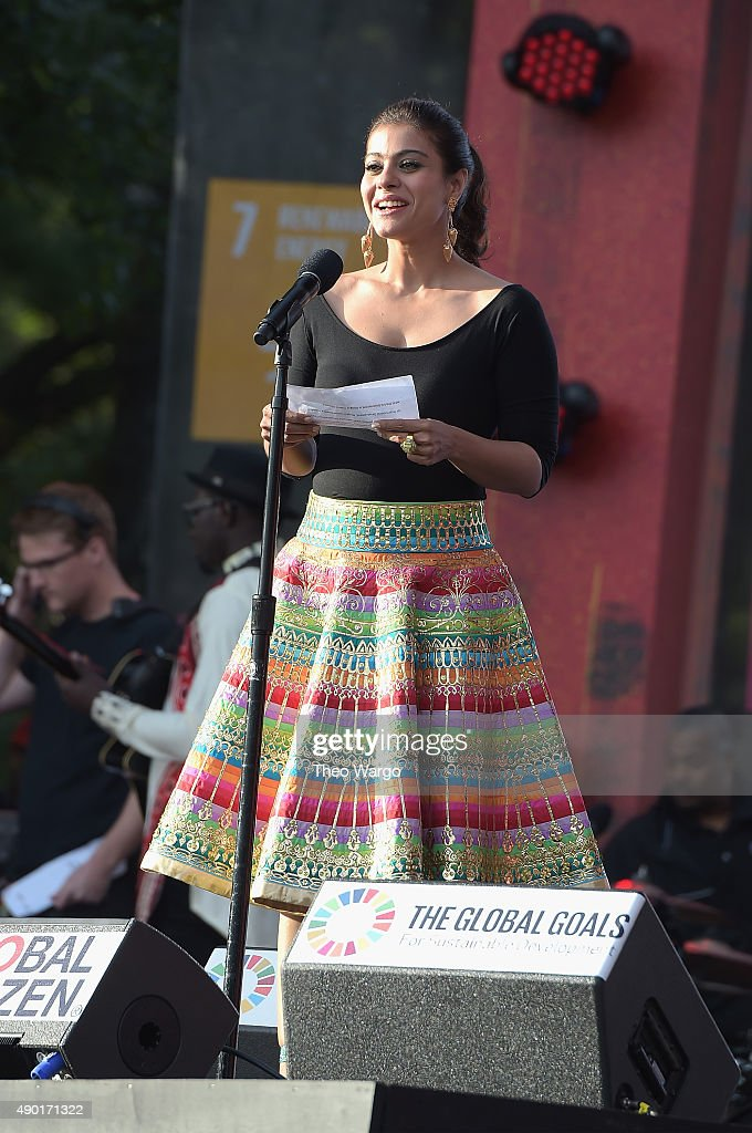Actress actress Kajol Devgan speaks on stage at the 2015 Global Citizen Festival to end extreme poverty by 2030 in Central Park on September 26 2015..