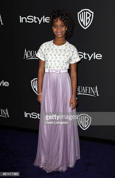 Actress Actress Quvenzhane Wallis attends the 2015 InStyle and Warner Bros 72nd Annual Golden Globe Awards PostParty at The Beverly Hilton Hotel on...