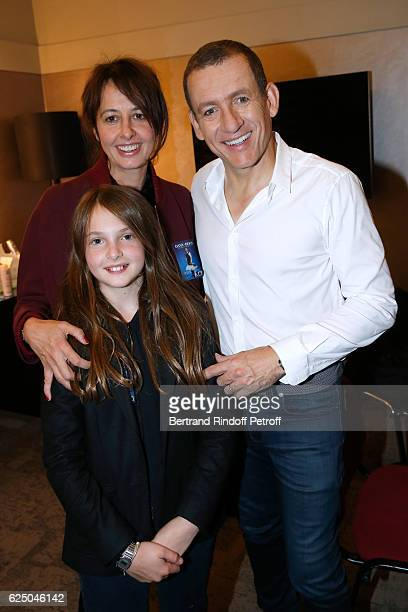 Actress actress Valerie Bonneton her daughter Marguerite Cluzet and Danny Boon pose Backstage after the Dany De Boon Des HautsDeFrance Show at...