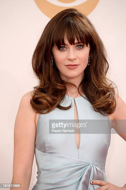Actress Actress Zooey Deschanel arrives at the 65th Annual Primetime Emmy Awards held at Nokia Theatre LA Live on September 22 2013 in Los Angeles...
