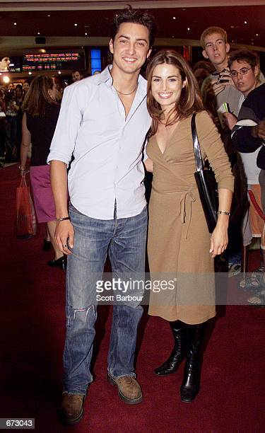Actress Ada Nicodemon and a friend attend the Australian premiere of 'American Pie 2' November 22 2001 at the Village/Greater Union/Hoyts Centre in...