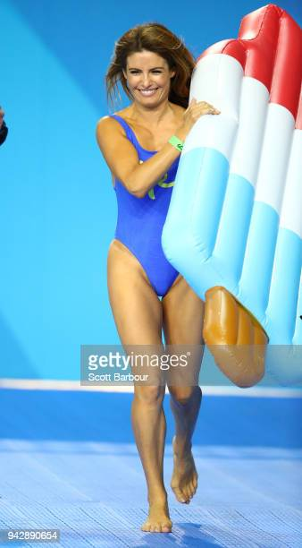 Actress Ada Nicodemou competes in a celebrity swimming race during the Swimming on day three of the Gold Coast 2018 Commonwealth Games at Optus...