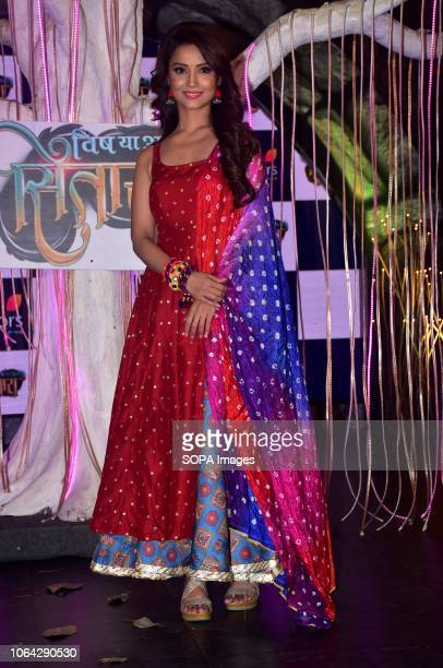 Actress Adaa Khan seen posing for a photo during the COLORS channel mystical saga 'Sitaara' show launch at the hotel JW Marriott Juhu in Mumbai