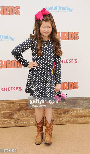 Actress Addison Riecke arrives at the 'Free Birds' Los Angeles Premiere at Westwood Village Theatre on October 13 2013 in Westwood California