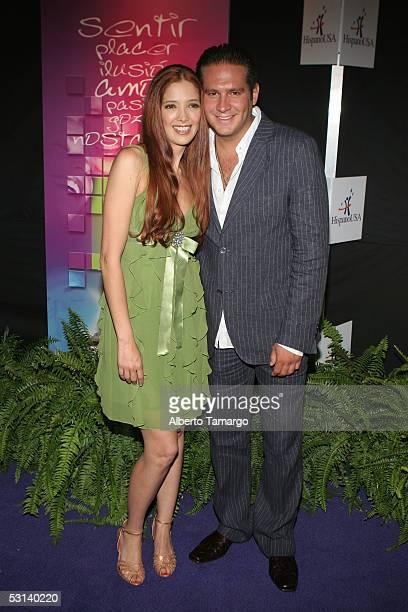 Actress Adela Noriega and actor Arath de la Torreat 'Encuentro Emociones' At The Mandarin Oriental Hotel on June 22 2005 in Miami Florida