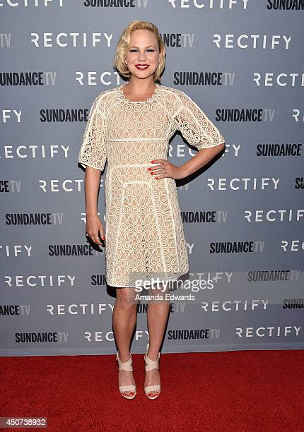 Actress Adelaide Clemens arrives at the SundanceTV series 'Rectify' Season 2 premiere at the Sundance Sunset Cinema on June 16 2014 in Los Angeles...