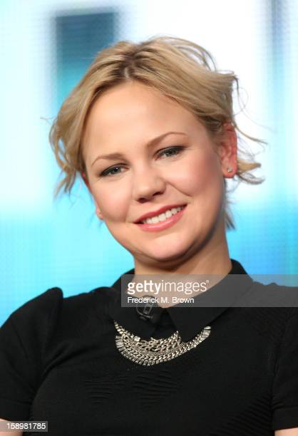 """Actress Adelaide Clemens speaks onstage during the """"Parade's End"""" panel discussion at the HBO portion of the 2013 Winter TCA Tourduring 2013 Winter..."""