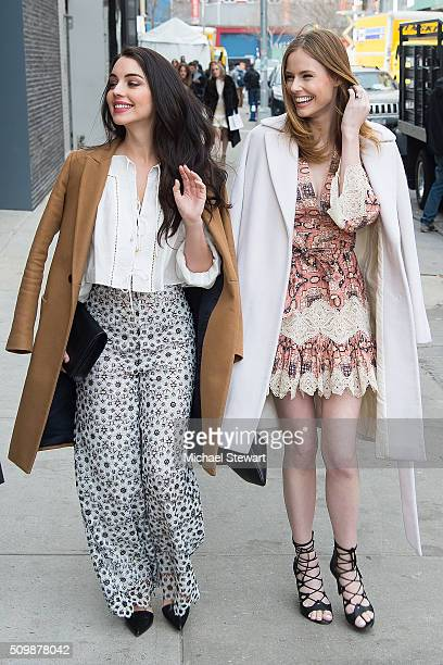 Actress Adelaide Kane and Alyssa Campanella are seen in outside the Zimmermann 2016 fashion show on February 12 2016 in New York City