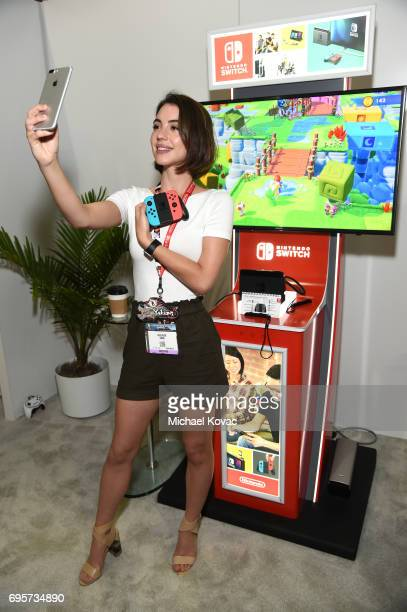Actress Adelaide Kane visits the Nintendo booth at the 2017 E3 Gaming Convention at Los Angeles Convention Center on June 13 2017 in Los Angeles...